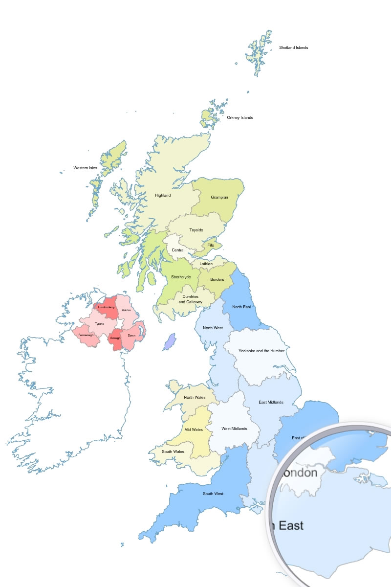 800x1200 Great Britain (Uk) Regions Vector Map