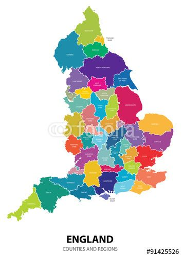 354x500 Best England Map Vector With Colored Regions