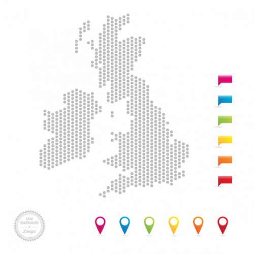 500x500 Free Uk Map Vector In Dots And Icon Pointers Ian Barnard
