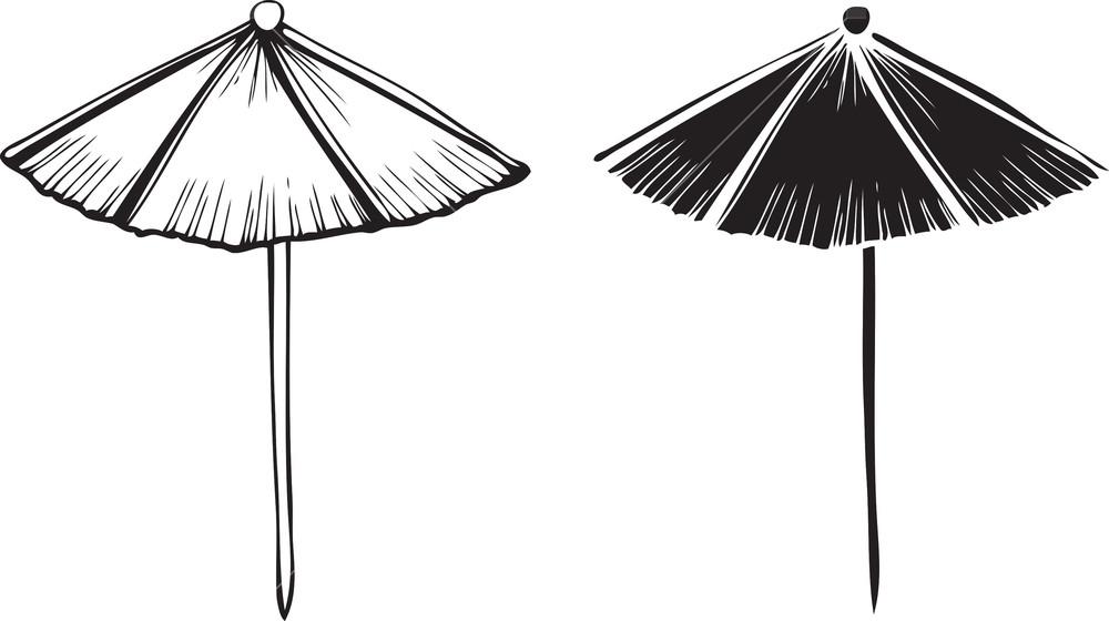 1000x560 Sun Umbrella Vector Element Royalty Free Stock Image