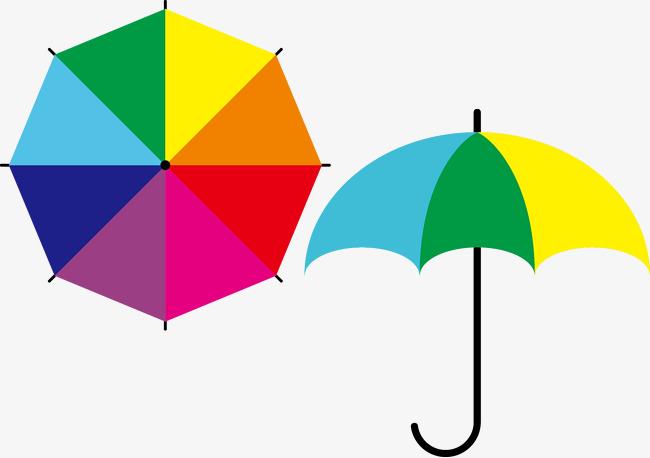 650x458 Colored Cartoon Umbrella Vector, Cartoon Vector, Umbrella Vector