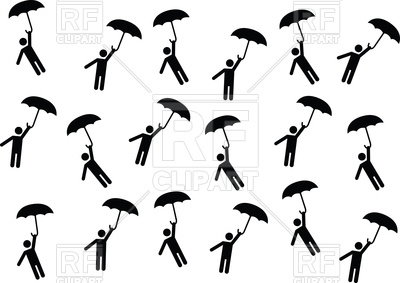 400x283 Pictogram People Flying With Umbrellas Vector Image Vector