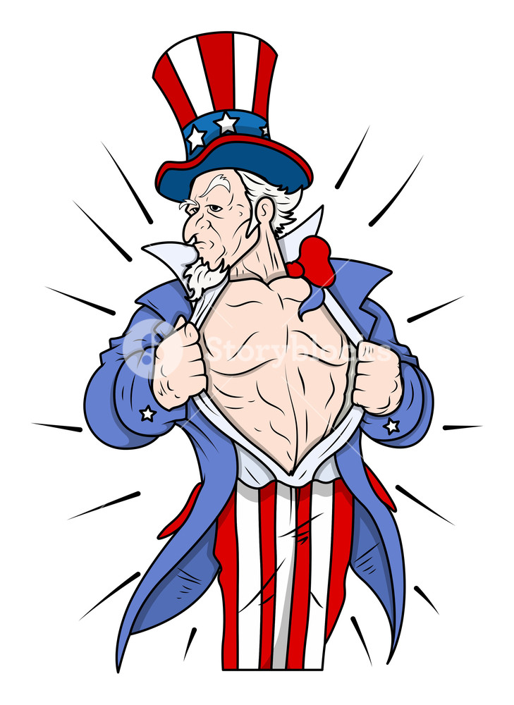 729x1000 Superhero Uncle Sam Showing Chest 4th Of July Vector Illustration