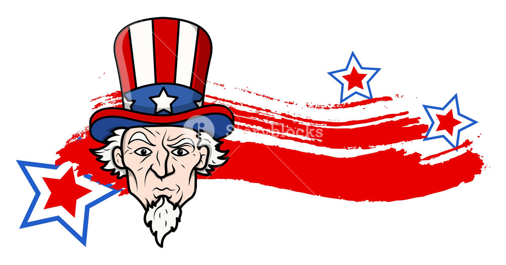 1000x524 Uncle Sam 4th Of July Vector Theme Design Royalty Free Stock Image