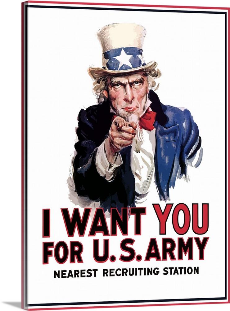 741x1000 Digitally Restored Vector War Propaganda Poster. Uncle Sam Vintage