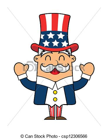368x470 Uncle Sam Cartoon Isolated Over White Background. Vector.