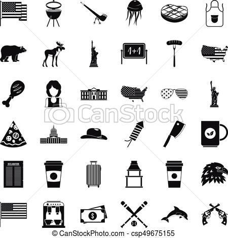 450x470 Uncle Sam Icons Set, Simple Style. Uncle Sam Icons Set. Simple