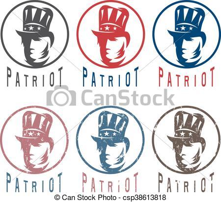 450x412 Patriotic Uncle Sam Vintage Vector Labels Set.