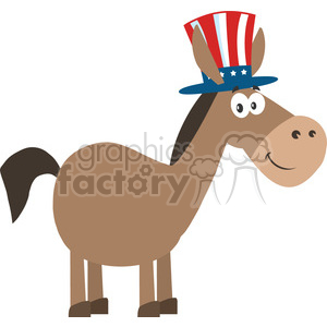 300x300 Royalty Free Democrat Donkey Cartoon Character With Uncle Sam Hat