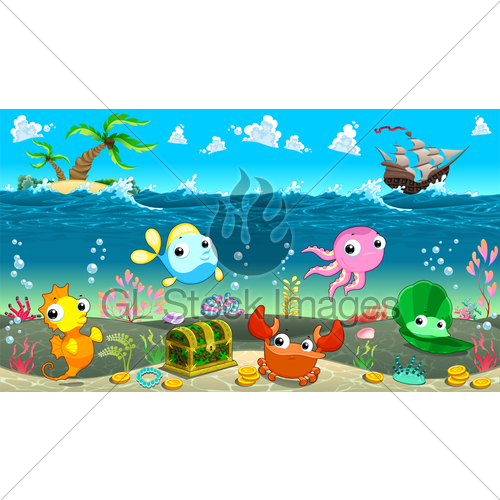 500x500 Funny Scene Under The Sea Gl Stock Images