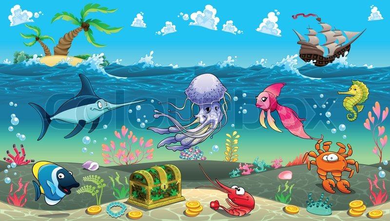 800x453 Funny Scene Under The Sea. Vector Cartoon Illustration Stock