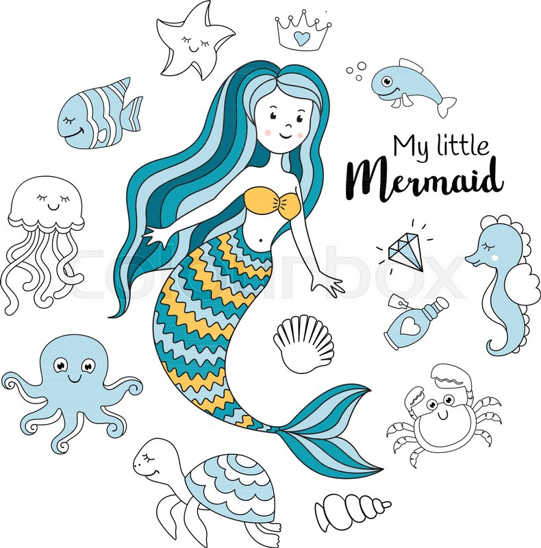 790x800 Cute Little Mermaid With Sea Animals. Under The Sea Vector