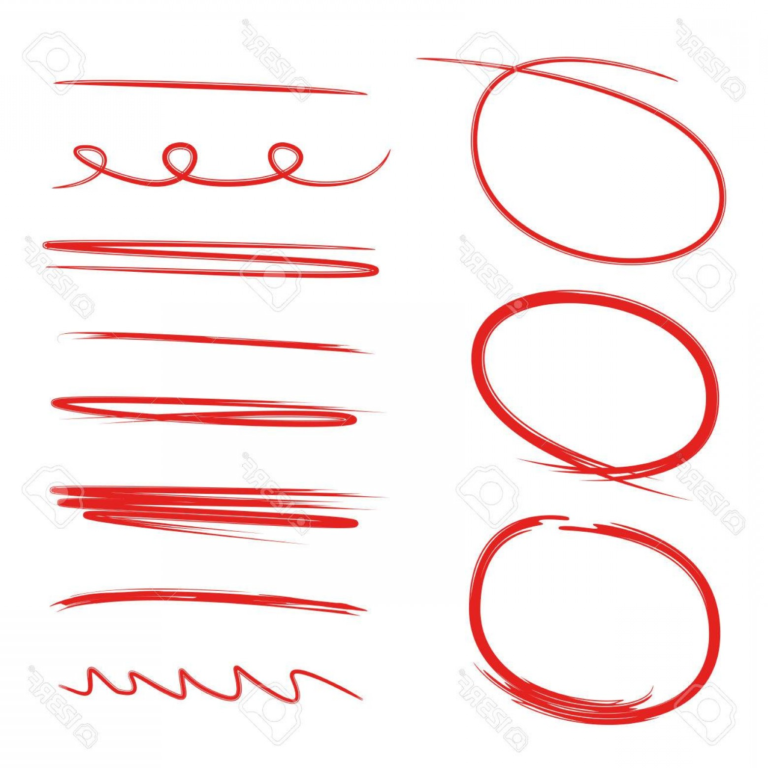 1560x1560 Photostock Vector Vector Red Circle Markers And Underline Set