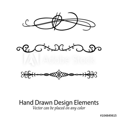 500x500 Abstract Vector Design Elements, Set Of Beautiful Fancy Curls And
