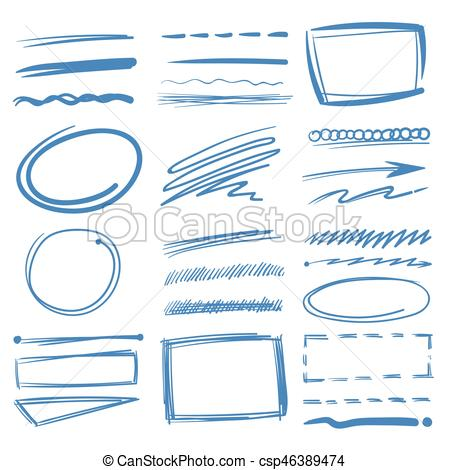 450x470 Doodle Highlighter Vector Elements, Sketch Circles, Hand Drawn