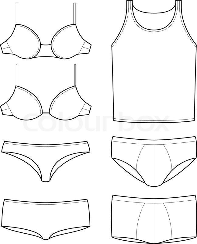 648x800 Set Of Underwear Templates Of Mens And Womens Underware Stock