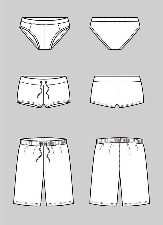 570x788 Underwear Vector Fashion Flat Sketch, Adobe Illustrator Design