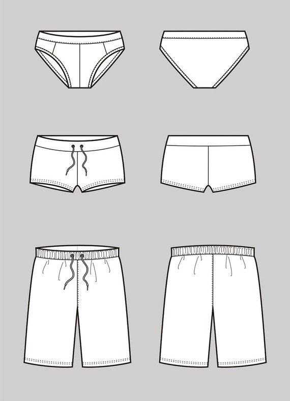 570x788 Underwear Vector Fashion Flat Sketch Adobe Illustrator Etsy