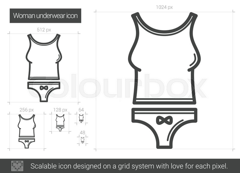800x576 Woman Underwear Vector Line Icon Isolated On White Background