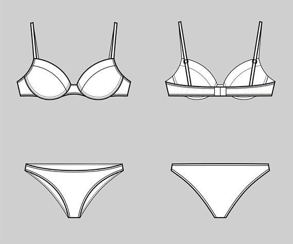 570x474 Bra And Underwear Vector Fashion Flat Sketch,adobe Illustrator