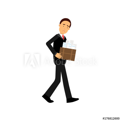 500x500 Frustrated Businessman Character Leaving His Work, Economic Crisis