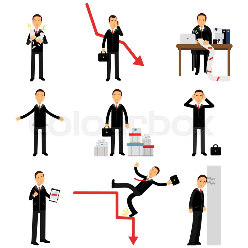 800x800 Frustrated Businessman Character Set, Business And Financial