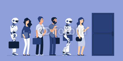 400x200 Robots And People Unemployment. Android And Man Competition For