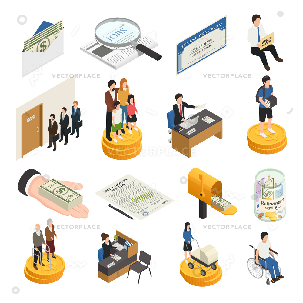 1000x1000 Social Security Isometric Icons Unemployment Supports Vector