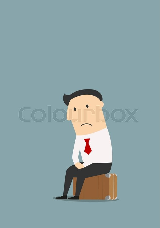 563x800 Depressed Fired Cartoon Businessman Sitting On A Suitcase After