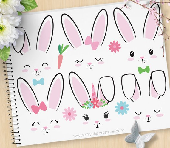 570x499 Bunny Faces, Rabbits Clipart, Unicorn, Emoji, Stamps, Easter Bunny