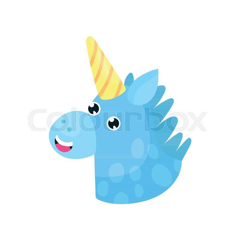 800x800 Cute Cartoon Blue Magic Unicorn Head Vector Illustration Isolated