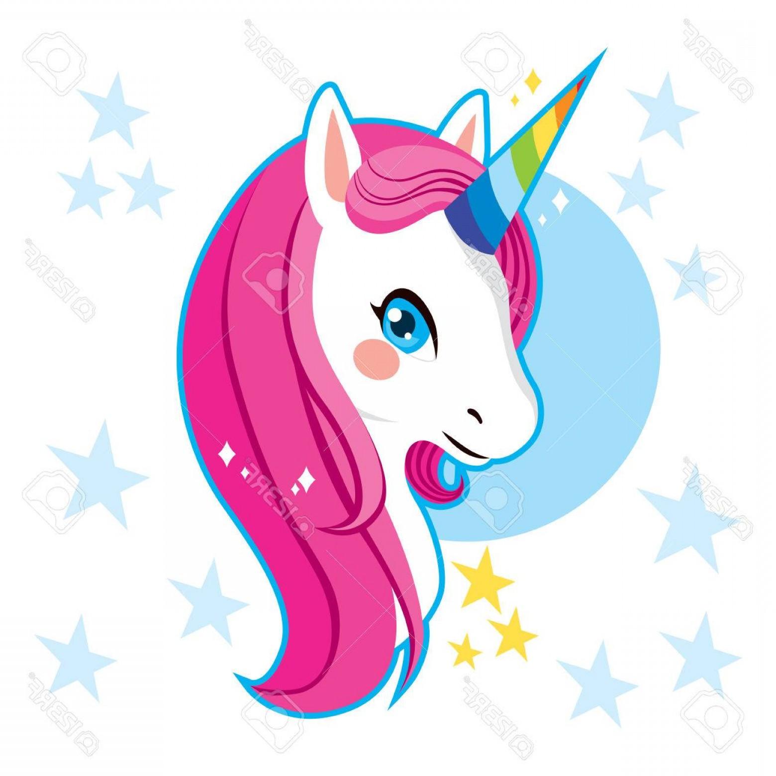 1560x1560 Photostock Vector Cute Magic Unicorn Head With Rainbow Horn And