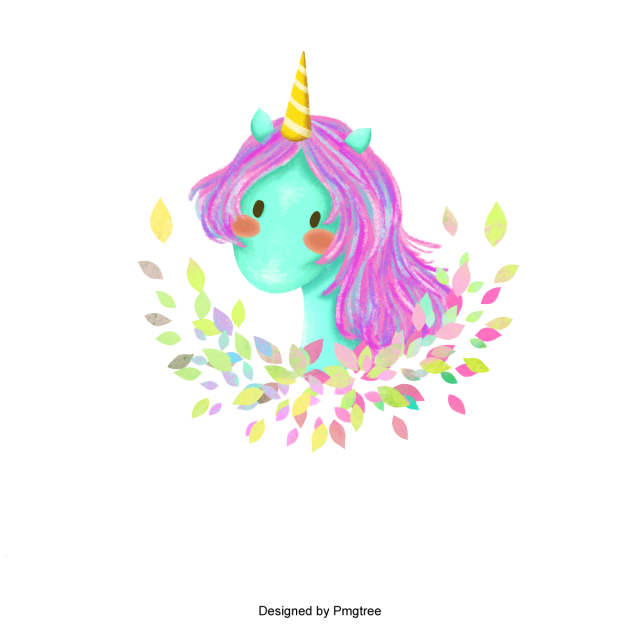640x640 Cute Magical Unicorn Head Vector Design, Unicorn, Head, Cute Png