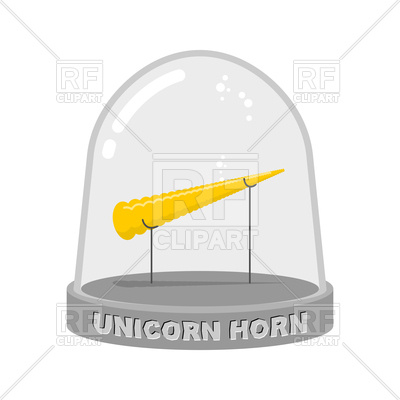 400x400 Unicorn Horn In Glass Bell Vector Image Vector Artwork Of