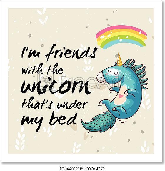 561x581 Free Art Print Of Amazing Card With Cute Unicorn. Vector Cartoon