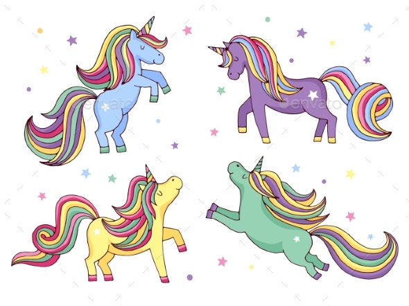 590x442 Funny Cartoon Unicorn. Vector Illustrations Set By Onyxprj