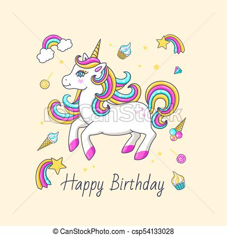 450x469 Happy Birthday Card With Cute Unicorn. Vector Illustration.