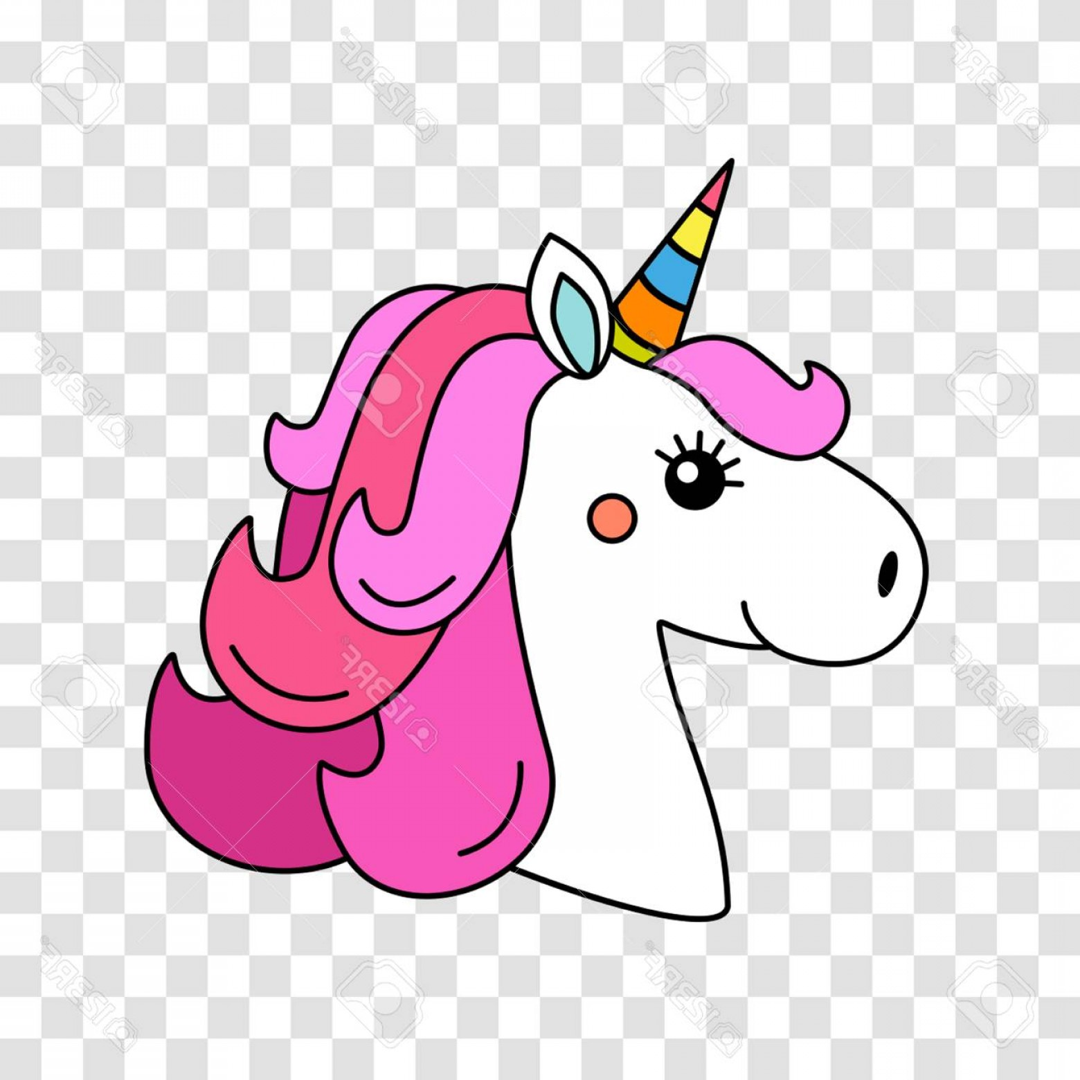 1560x1560 Photostock Vector A Funny Character Of The Muzzle Of A Unicorn