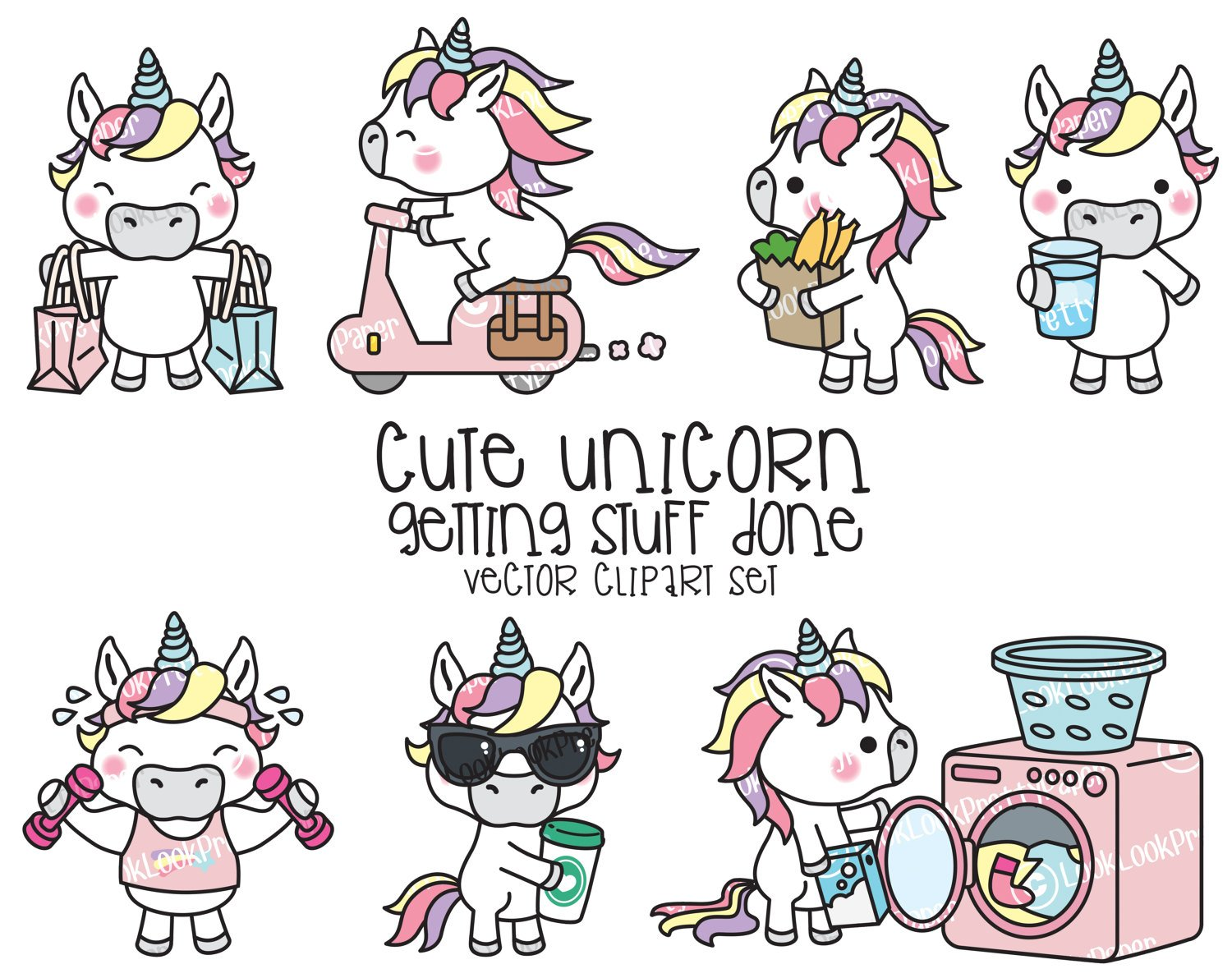 1500x1191 Premium Vector Clipart Kawaii Unicorn Cute Unicorn Etsy