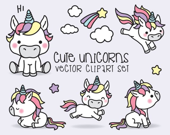 570x452 Premium Vector Clipart Kawaii Unicorns Cute Unicorns Etsy