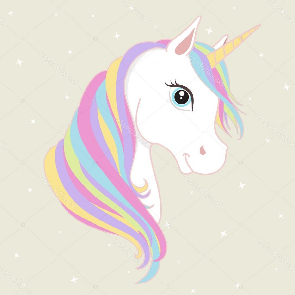 1228x1228 Stock Illustration White Unicorn Vector Head With Shopatcloth