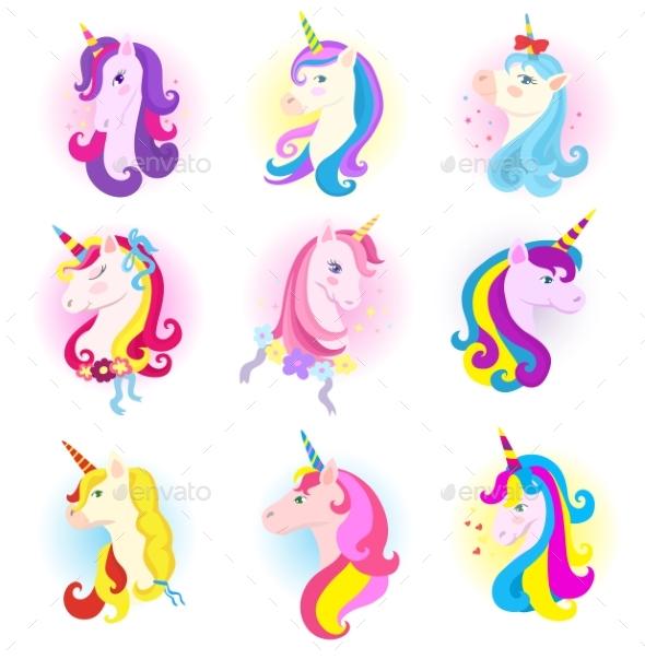 590x603 Unicorn Vector Cartoon Horse Character With Magic By Vectoristik