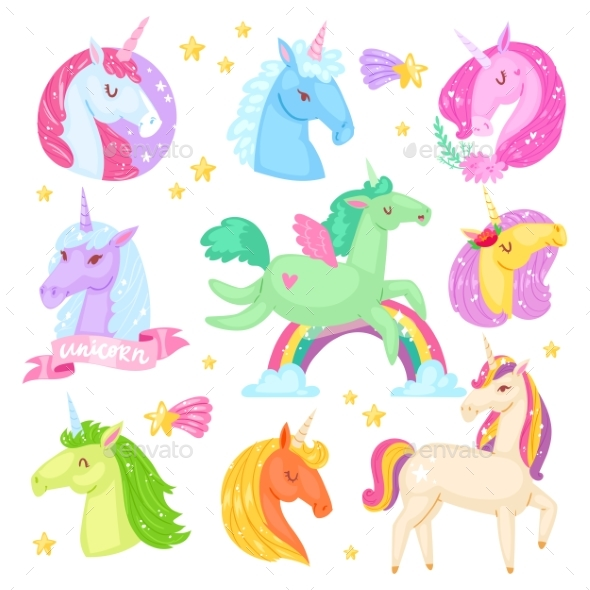 590x590 Unicorn Vector Cartoon Kids Characters By Pantimetrok Graphicriver