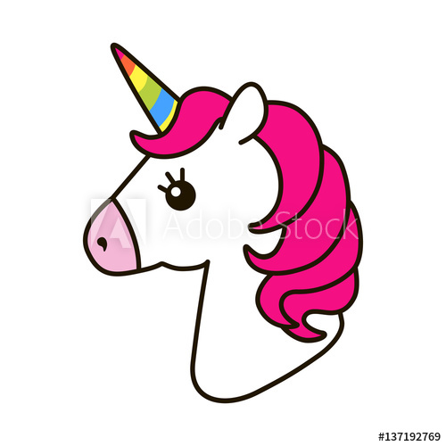 500x500 Unicorn Vector Icon Isolated On White. Head Portrait Horse Sticker