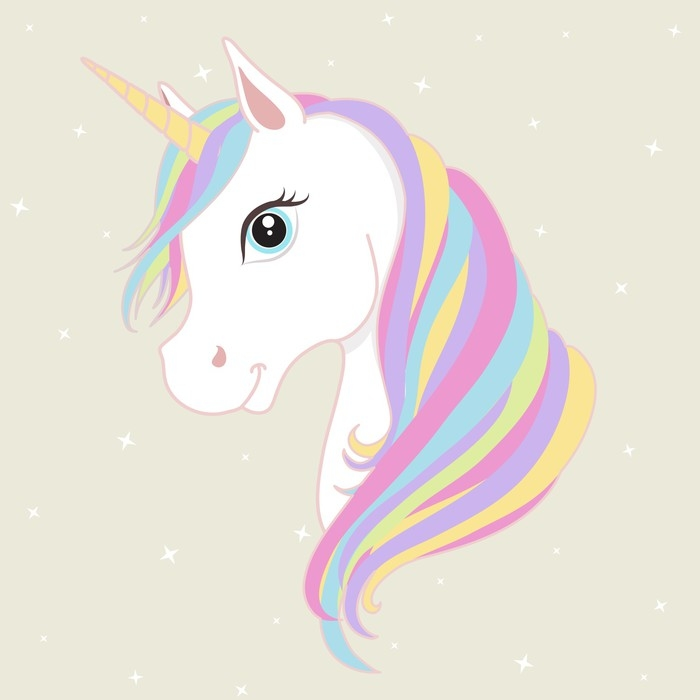 700x700 White Unicorn Vector Head With Mane And Horn. Unicorn On Starry