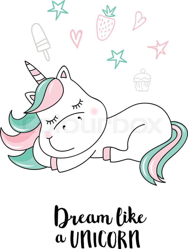 604x800 Dream Like A Unicorn. Vector Unicorn Quote Illustration Stock