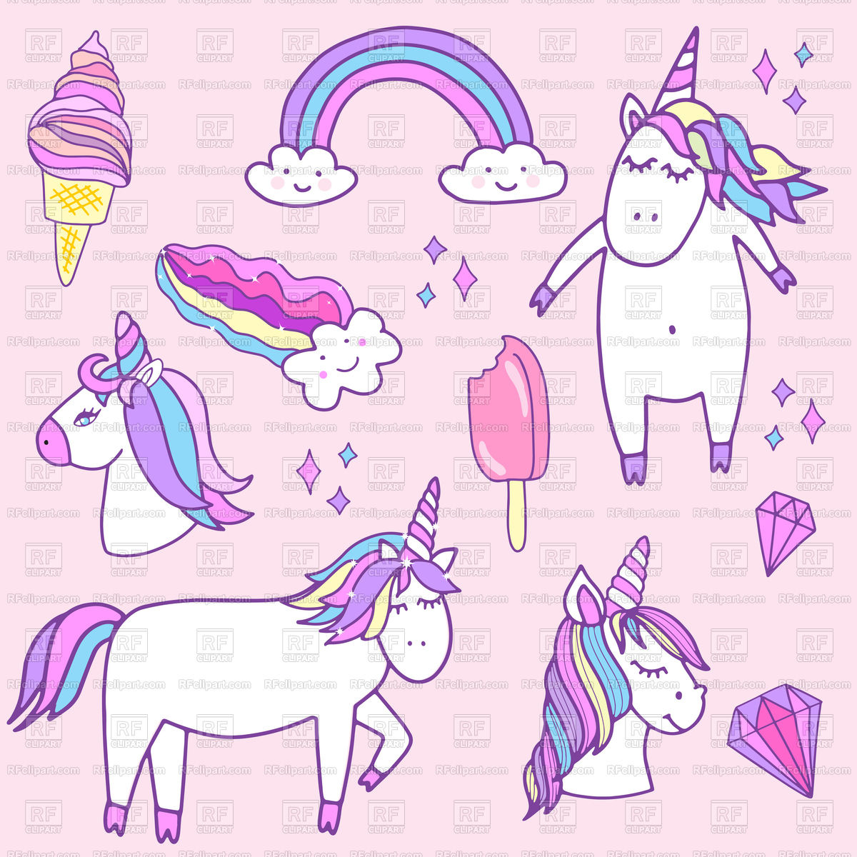 1200x1200 Fashion Patch Badges With Unicorns Vector Image Vector Artwork