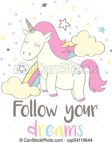 368x470 Magic Cute Unicorn In Cartoon Style With Hand Lettering Follow