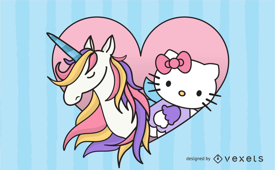 900x557 Kitty With Pink Unicorn Vector