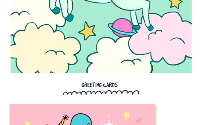 680x420 Awesome Unicorn Vector Pack Background And Greeting Cards Set